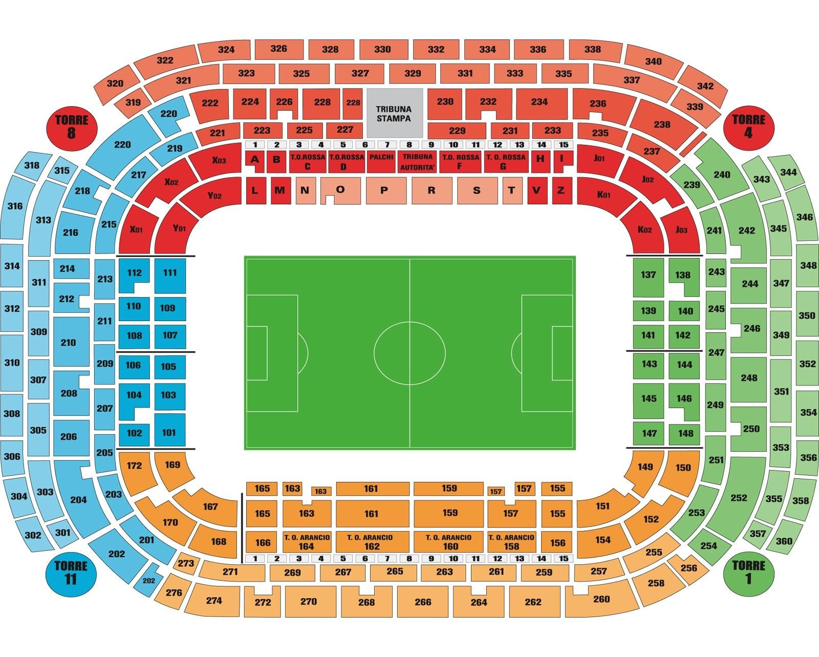Stadio Giuseppe Milan seating map