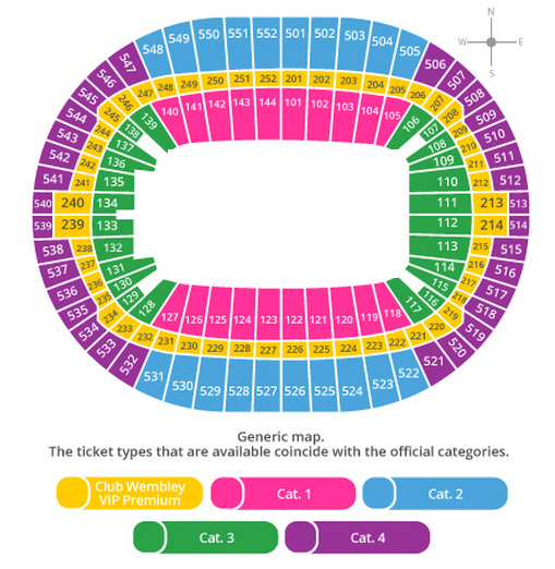 Wembley Stadium Seating Plan and tikets